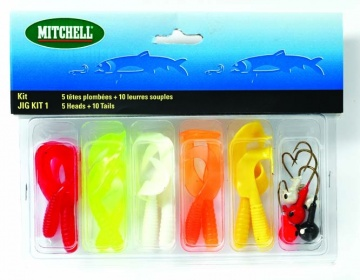 Набор джиговый Mitchell Jig Kit 1 (5 джиг/г + 10Твистер)